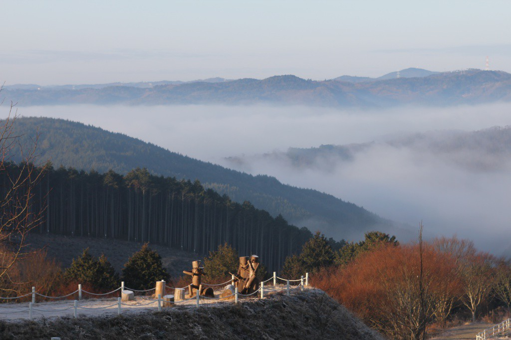 今日は晴れで、雲海が出ています。美しい景観です。